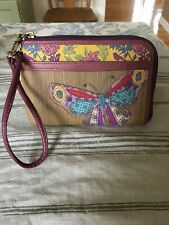 FOSSIL BROWN LEATHER WRISTLET W/PATCHWORK BUTTERFLY FITS IPHONE 6S/CC NEW WOT