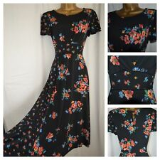 EX MONSOON MIDI DRESS BOHO RETRO VTG FLORAL DITSY BLACK ORANGE BLUE SIZE 18