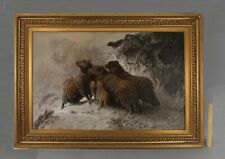 Lrg Antique August Schenck Lost Sheep Shepherd Dog Winter Landscape Oil Painting