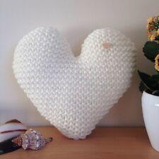 Handmade Hand Knitted Cream Heart-Shaped Decorative Cushion