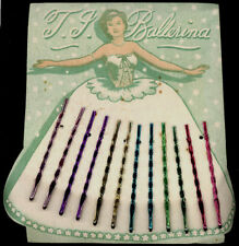 1930's Ballerina Colored Die-Cut Card of Fancy Colored  Hairpins - Unused Stock