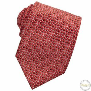 CURRENT Canali 1934 Red White 100% Silk Geometric Self Tipped Glossy Tie