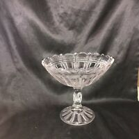 Vintage Pressed Glass Clear Ribbed Ladder Pedestal Compote Candy Dish