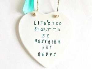 Be Happy Positive  Life Quote Heart Wall Plaque Home Decor Inspirational Gift
