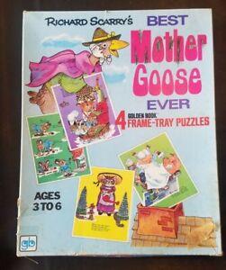 Vintage 1971 Richard Scarry's 4 Golden Book Mother Goose Frame Puzzles