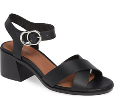 Topshop Womens Black Deedee Block Heel Sandal Sz 37 EU 6941