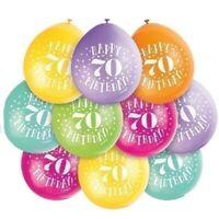 "10 X HAPPY 70th BIRTHDAY 9"" LATEX BALLOONS MIXED AIR FILL PARTY DECORATION 70"