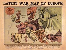 PROPOGANDA FUN LATEST WAR MAP OF EUROPE 1870 12X16 INCH ART PRINT POSTER HP2553