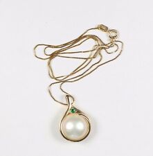 "Large Akoya Pearl & Round Faceted Emerald Pendant 14k Yellow Gold 18"" chain"