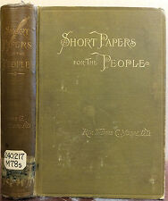 SHORT PAPERS FOR THE PEOPLE (Alethaurion) By Rev. Thomas C. Moore - 1886