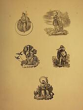 Antico in legno del 15 stampa ~ GRECO ROMANA MITOLOGIA VENUS ZEUS Cronus ZEUS