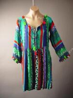 Bright Colorful Exotic Stripe Hippie Bohemian Top Blouse 253 mv Tunic XL 2XL 3XL