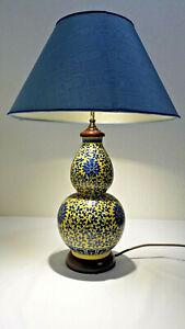 Paar Tischlampen, alt, wohl CHINA / Pozellan / Messing / Holz