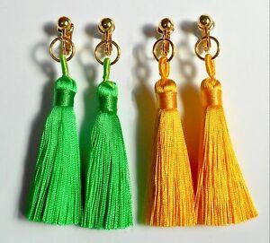 GORGEOUS BRIGHT GREEN TASSELS CLIP ON EARRINGS (or hooks)