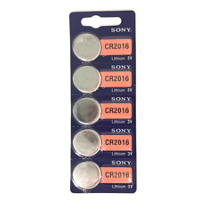 Sony CR2016 3V Lithium Coin or Button Cell Battery 2016 - 5 Pack