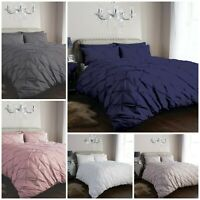 Pintuck Pleated Duvet Cover bedding Set with Pillowcases Single Double King Size