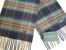 Lyle and & Scott cashmere scarf navy blue grey brown white mens womens NEW wool