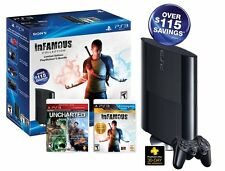 Sony Playstation 3 (PS3) Super Slim 250GB inFamous/Uncharted Black Friday Bundle