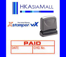 Xstamper VX { PAID DATE CHQ.No. } Pre-Inked Self-Inking Red Ink Stamp (1533) NEW