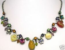 Pink Yellow Austrian Crystal Lucite Bead NECKLACE