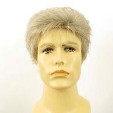 Perruque homme 100% cheveux naturel blanc méché gris FRANCK 51