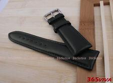19mm Black Smooth Genuine Leather Buckle Watch Straps Band Bracelet L05
