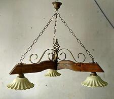 Lampadario rustico ferro legno terracotta col. noce scuro avorio bronzo antico