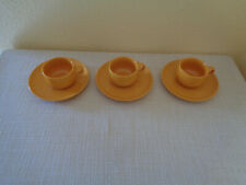MELITTA Heidelberg gelb orange Teetassen mit Untertellern 6 tlg,.Vintage