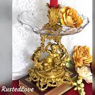 Antique Baroque Brass Putti Cherub Bowl Flower Candle holder Vase Rocco Italian
