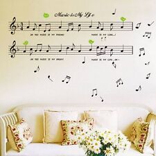 BLACK Music Nota Rimovibile Decalcomania Stanza HOME DECOR Adesivo Parete ARTE Carta Da Parati