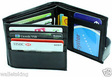 Mens RFID BLOCKING Black Real Leather Wallet Credit Card Holder Purse Pouch 304