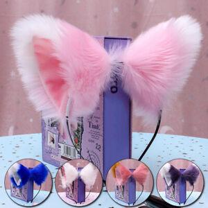 Cute Women Girl Cat Fox Ears Long Fur Headband Anime Cosplay Party Costume