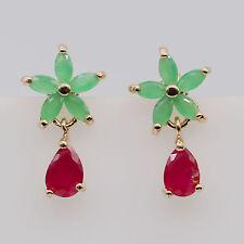 Elegant Fashion Women Ruby&Green Emerald 24K Gold Plated Dangle Earrings Jewelry
