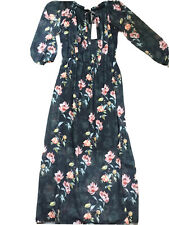 MAXI FLOATY DRESS, SCOOPED ELASTIC NECKLINE IN GREY + PINK & YELLOW FLOWERS -XL