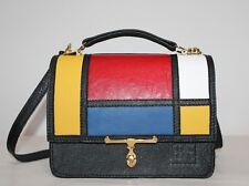 Borsa borsetta donna vera pelle MONDRIAN rosso giallo nero fatta a mano italia