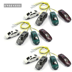 4pcs HO Scale Head Lighted Model Car 1:87 Scenery 12V EC100