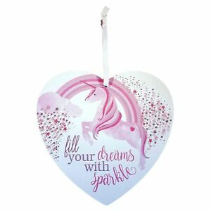 Pretty Glitter Unicorn Heart Shaped Plaque Sign Fill Your Dreams with Sparkle