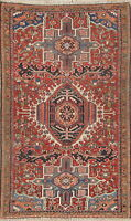 Antique Geometric Oriental Gharajeh Area Rug Wool Hand-Knotted Tribal Carpet 3x5