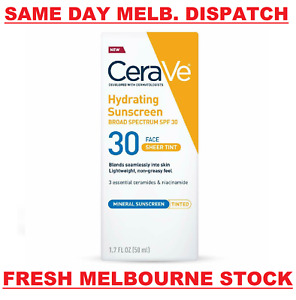 CeraVe Tinted Hydrating Mineral Face Sunscreen Lotion SPF30 Sheer Tint 50mL NEW