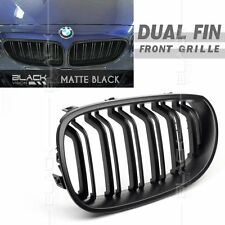 Matt Black Dual Fin Kidney Front Grille for BMW 5 SERIES E60 2003-2009 Free Clip