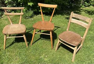 Ercol Vintage Children's Child's School Chairs X3