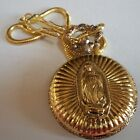 Men's Gold Finish Guadalupe Mary Clip On Fashion Casual Pocket Watch With Chain