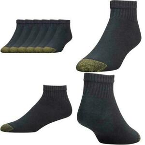 Gold Toe Men's Black Cotton Quarter Athletic Sock 6 pair - Sock Size 10-13