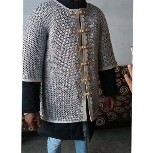 ,Viking Half Sleeve 10 mm Chain mail Shirt Frant Open Aluminum Medieval Huberk