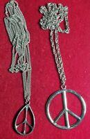 Wow GROOVY PEACE LOVE Rare 1970's TRUE VINTAGE PEACE SYMBOLS NECKLACES Pendants