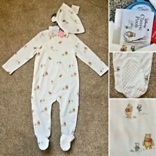 Tu Classic WINNIE THE POOH Cotton Baby Sleepsuit & Hat - 9-12 Months - BRAND NEW