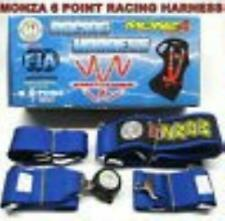 FIA Approved Monza Racing 6 Point 3 Harness Seat Belt Drag Drift Race Car Blue