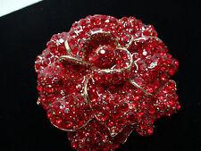 Vintage estate ruby cluster red flower petal design broach