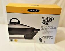 """Bella 12""""x12"""" Black Electric Skillet Non-Stick Cool-Touch Handles Buffet Server"""