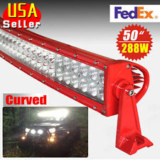 288W 50'' Red Curved Flood Spot Combo LED Work Light Bar Fog Driving DRL 4WD